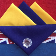 Yellow and Blue Hankie With Blue Flap and Pin